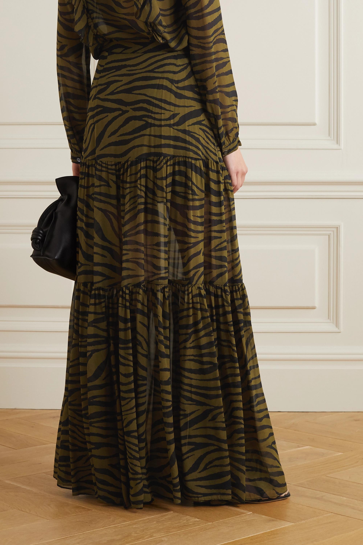 Veronica Beard Serence tiered zebra-print silk crepe de chine maxi skirt