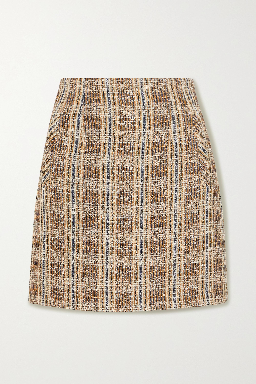 Veronica Beard Roman checked tweed mini skirt
