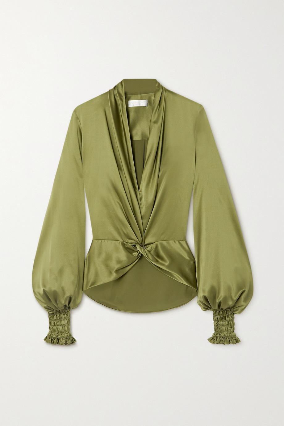 Caroline Constas Bette twist-front silk-blend satin blouse