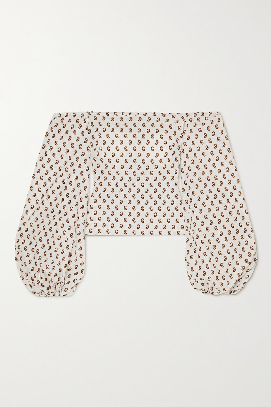 Caroline Constas Bea off-the-shoulder paisley-print cotton-blend top