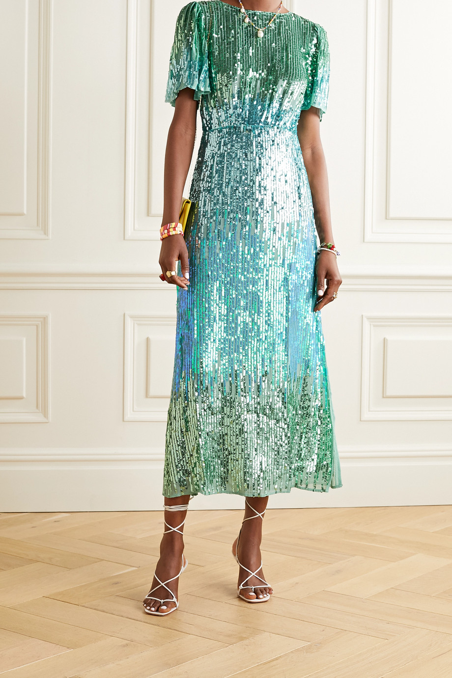 RIXO Venus sequined chiffon midi dress