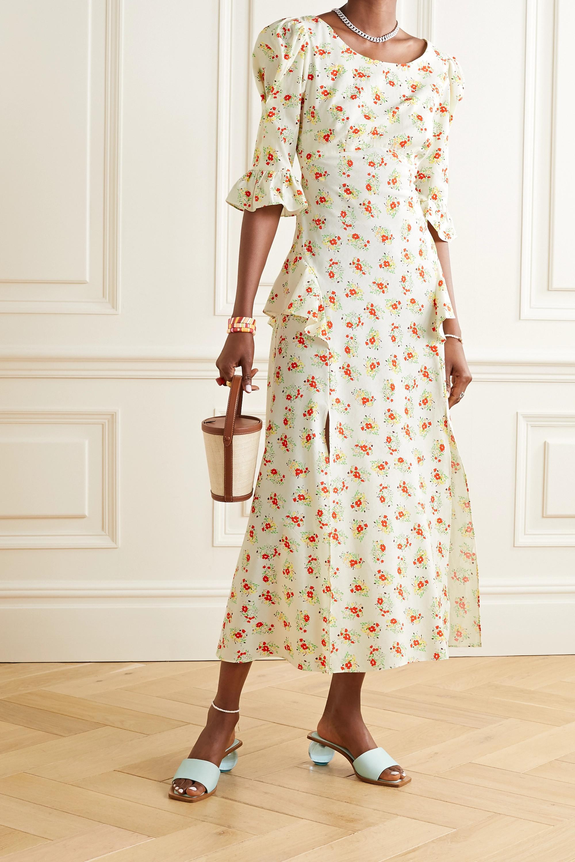 RIXO Quinn ruffled floral-print cotton midi dress
