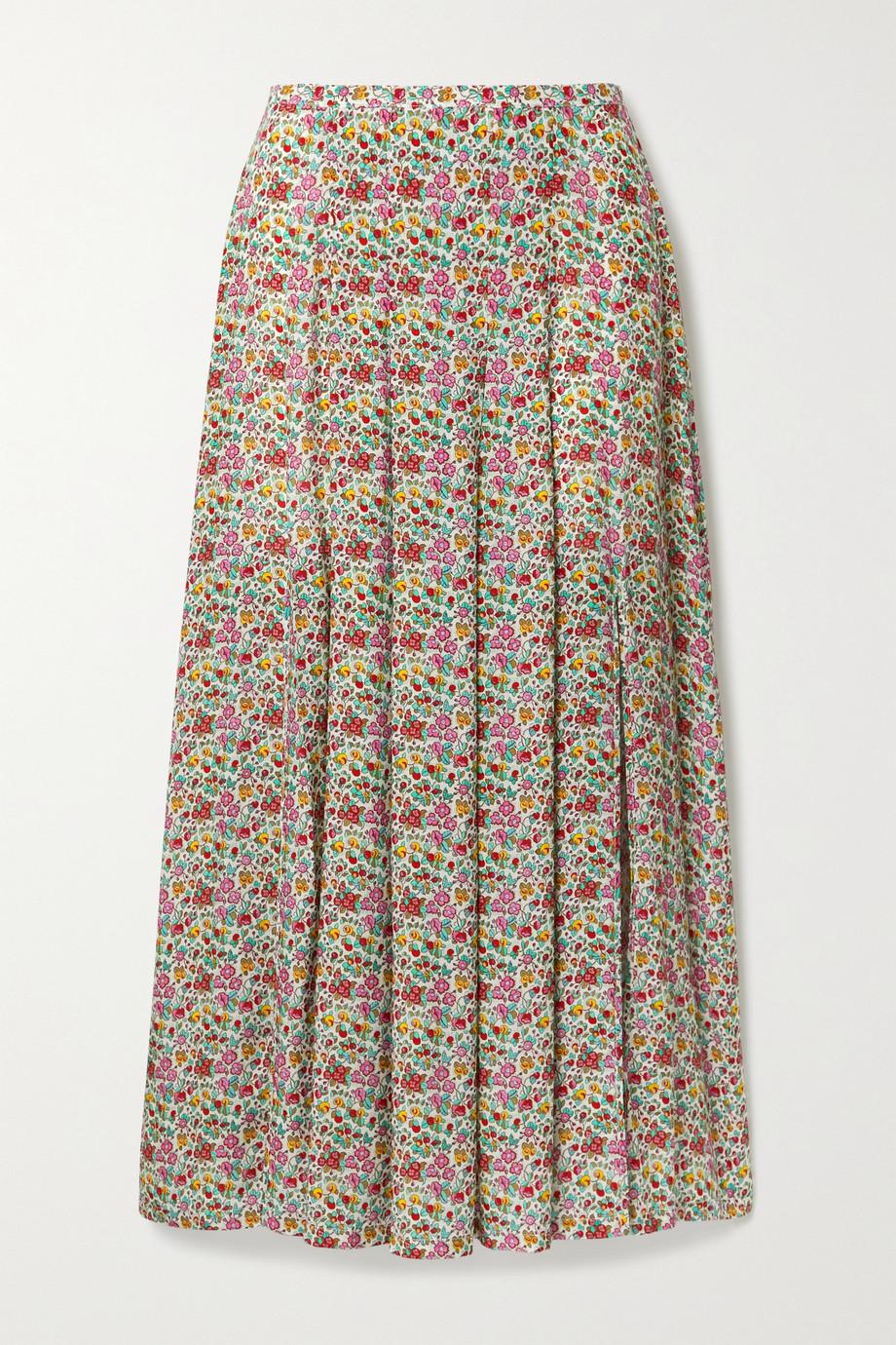 RIXO Georgia pleated floral-print cotton and silk-blend midi skirt