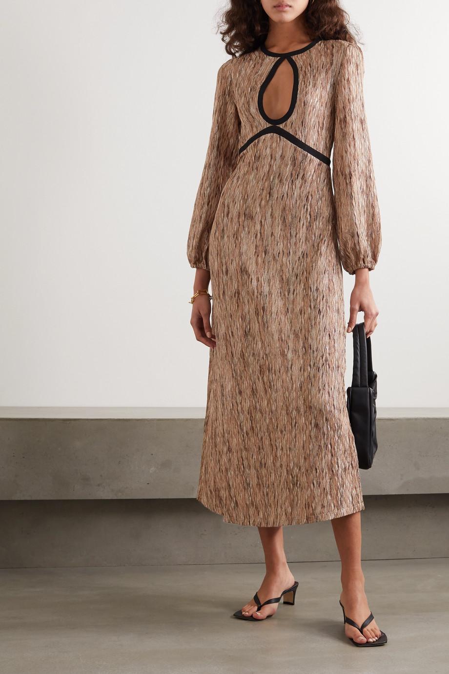 RIXO Iris crochet-knit midi dress