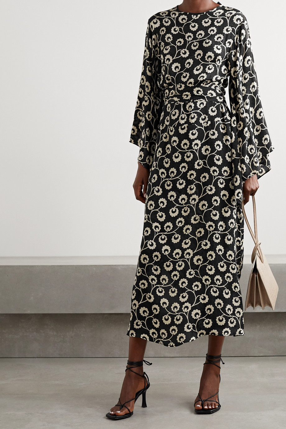 RIXO Stevie floral-print silk-satin jacquard midi dress
