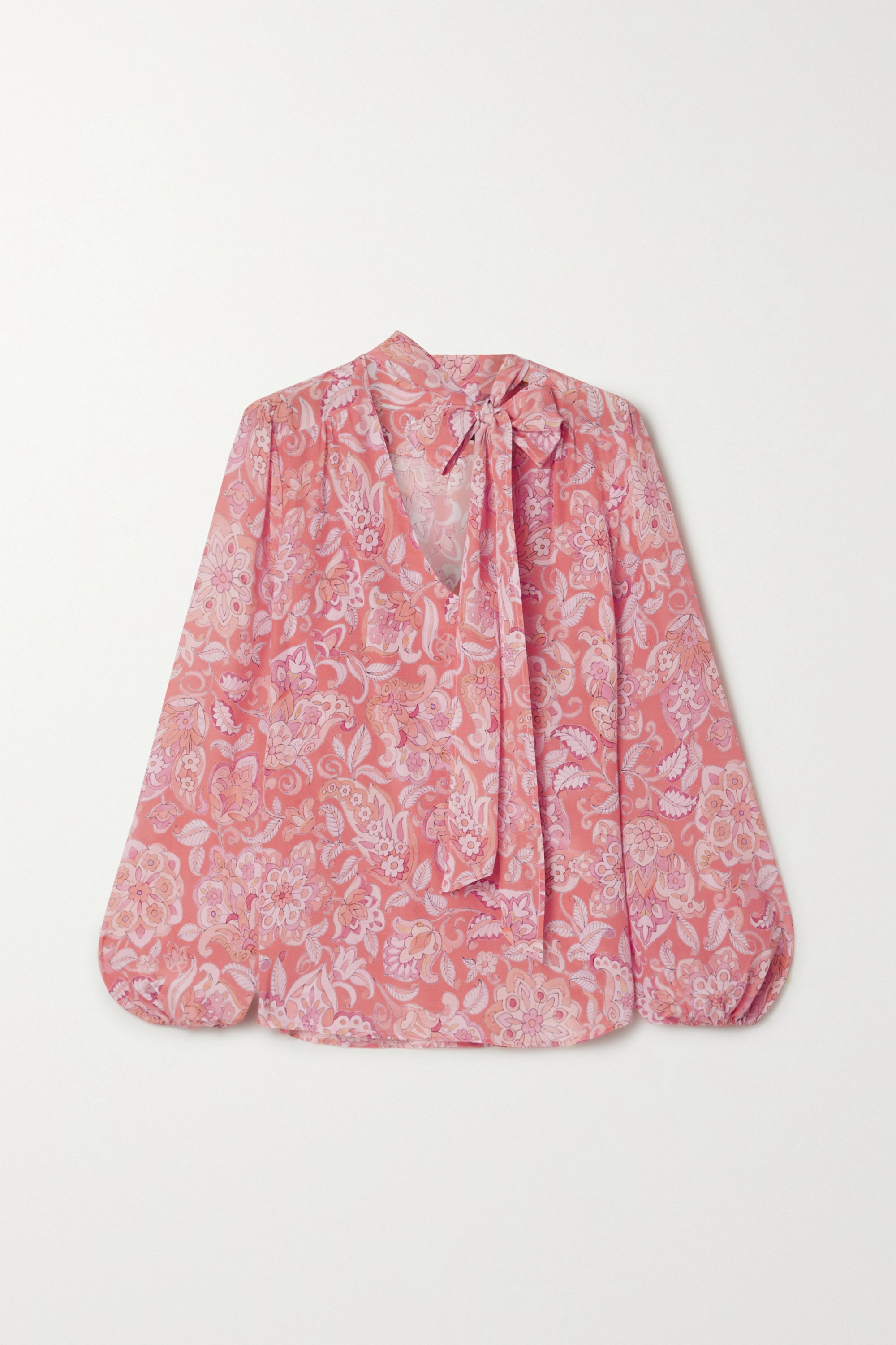RIXO Moss pussy-bow printed silk-crepe blouse