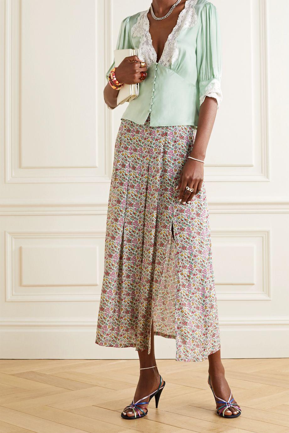 RIXO Amanda lace-trimmed satin blouse