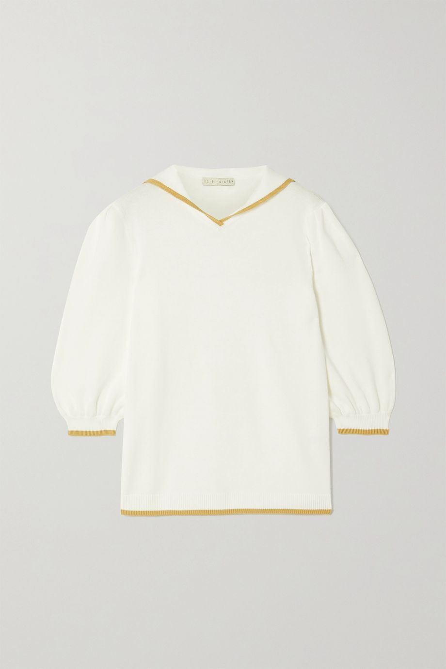 USISI SISTER Sailor two-tone cotton-blend top
