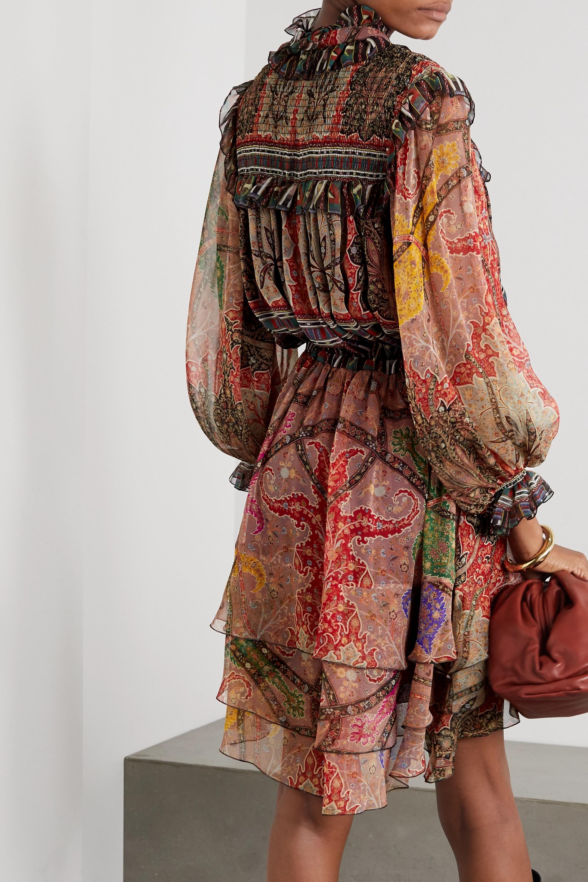 Etro Ruffled printed silk-crepon mini dress