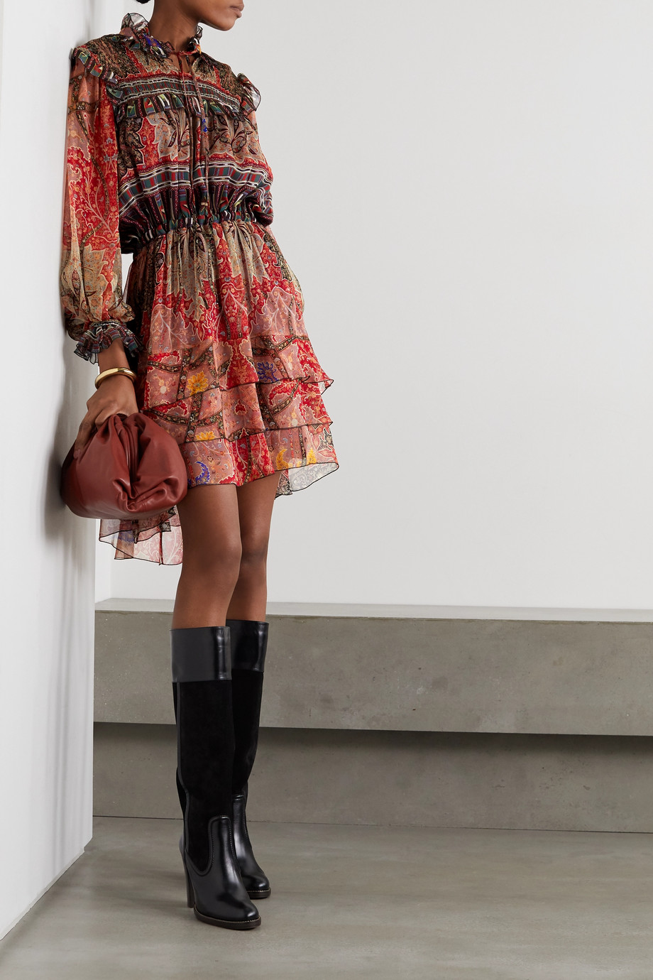 Etro Ruffled printed silk-crepon mini dress