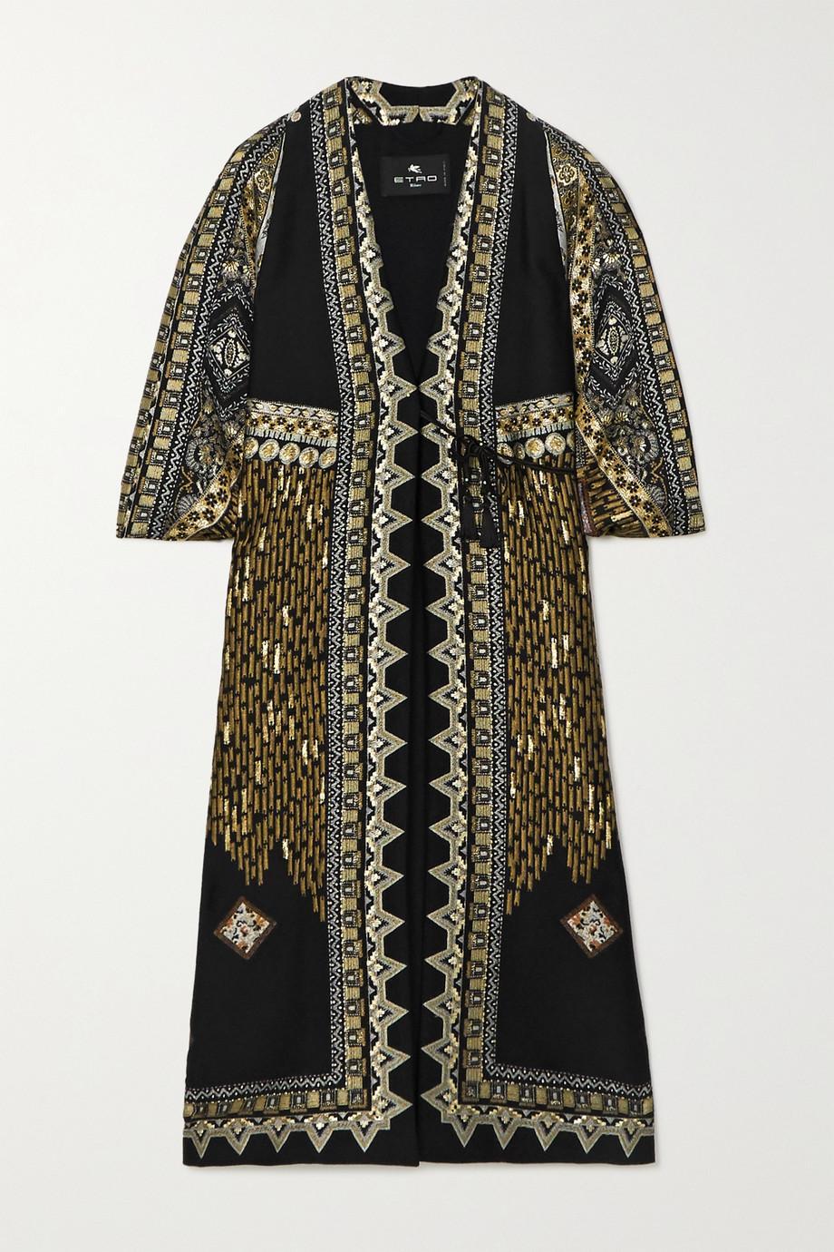 Etro Metallic wool-blend jacquard coat