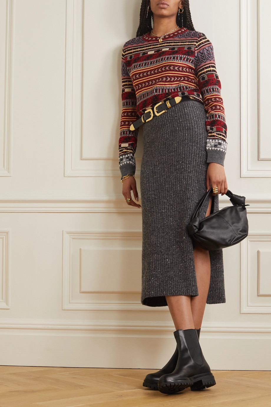 Etro Cropped wool-blend jacquard sweater