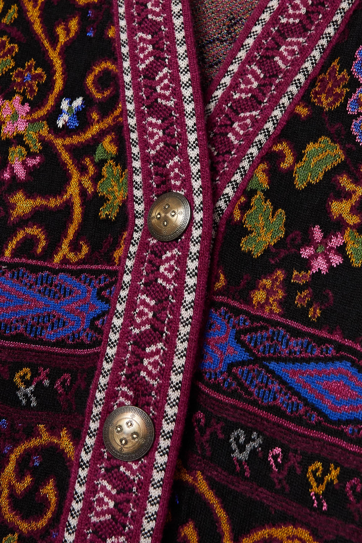 Etro Fringed jacquard-knit cardigan