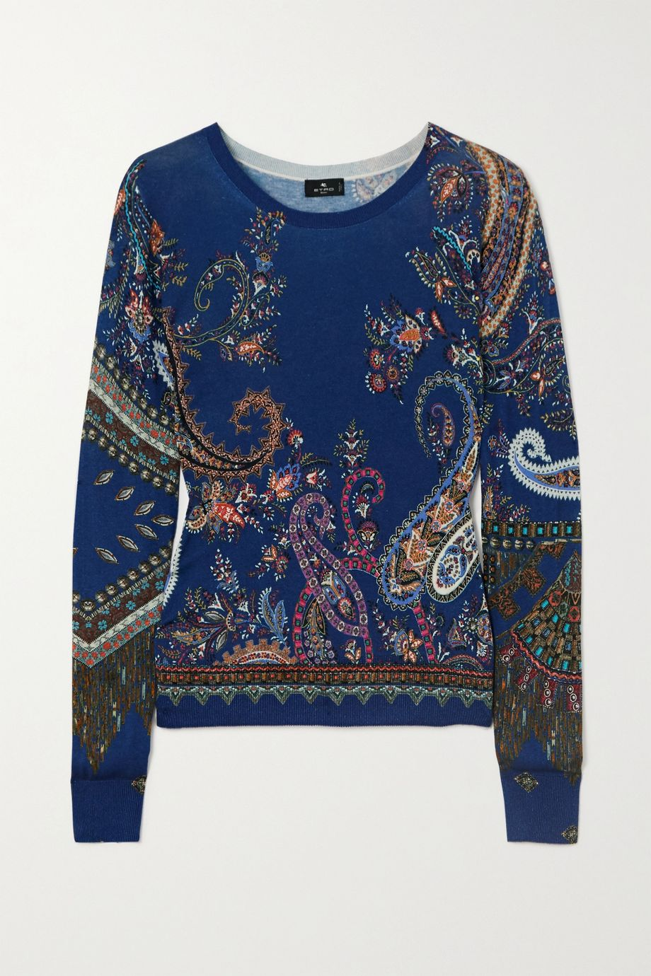 Etro Paisley-print silk and cashmere-blend sweater
