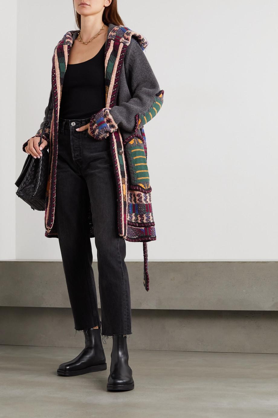 Etro Cardigan à capuche en jacquard de laine mélangée à broderies et à ceinture