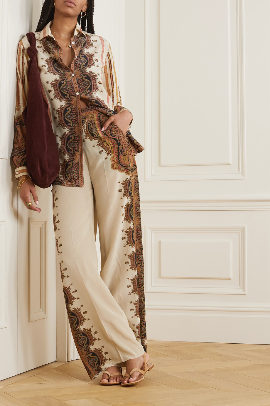 Etro Printed silk wide-leg pants