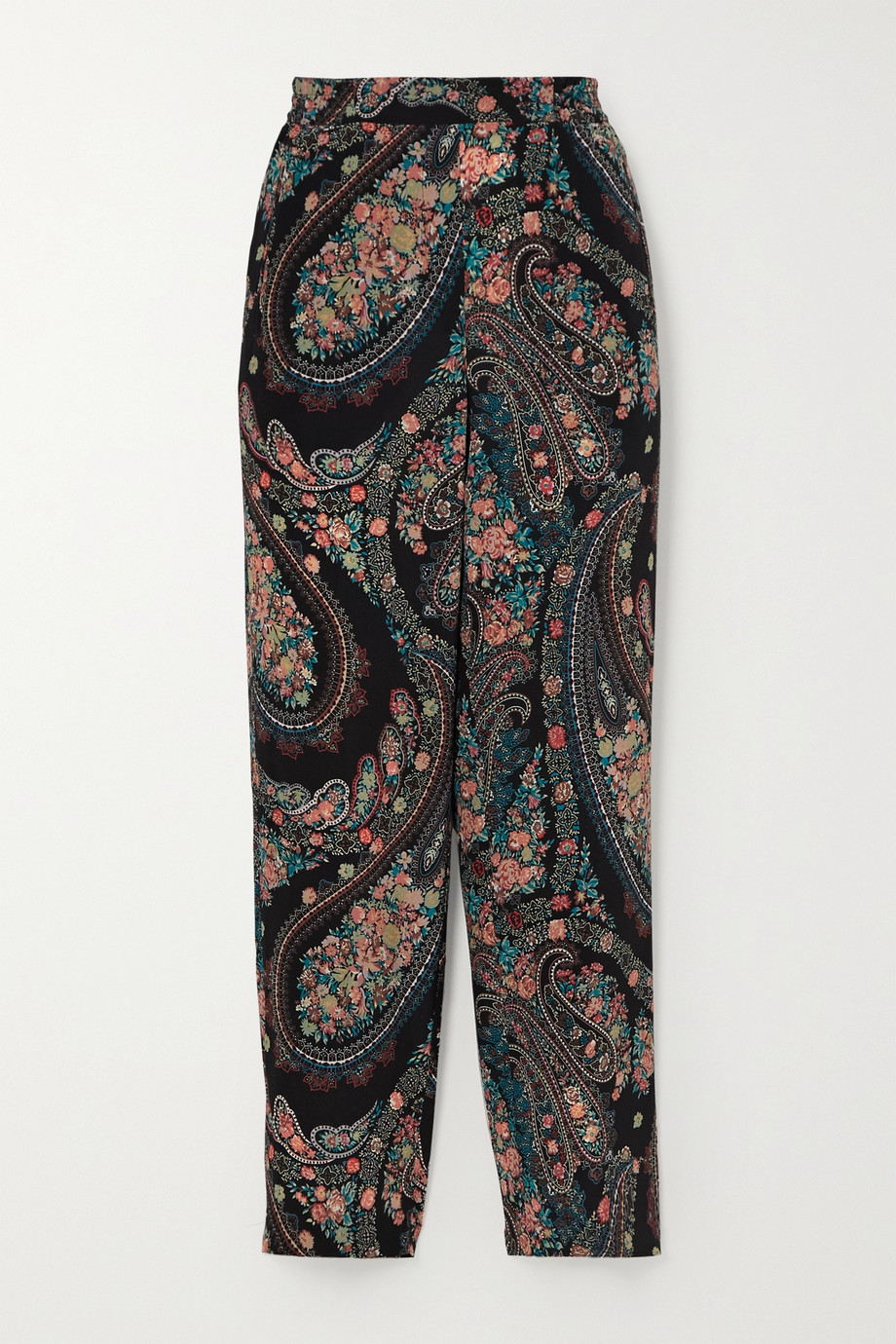 Etro Cropped paisley-print silk-crepe slim-leg pants