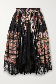 Etro Lace-trimmed floral-print silk-crepon mini skirt
