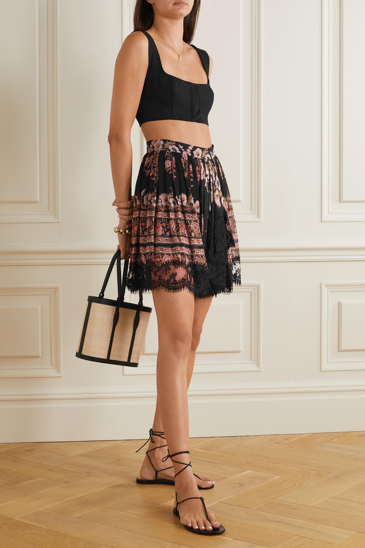 Etro Lace-trimmed floral-print silk-crepon mini skirt
