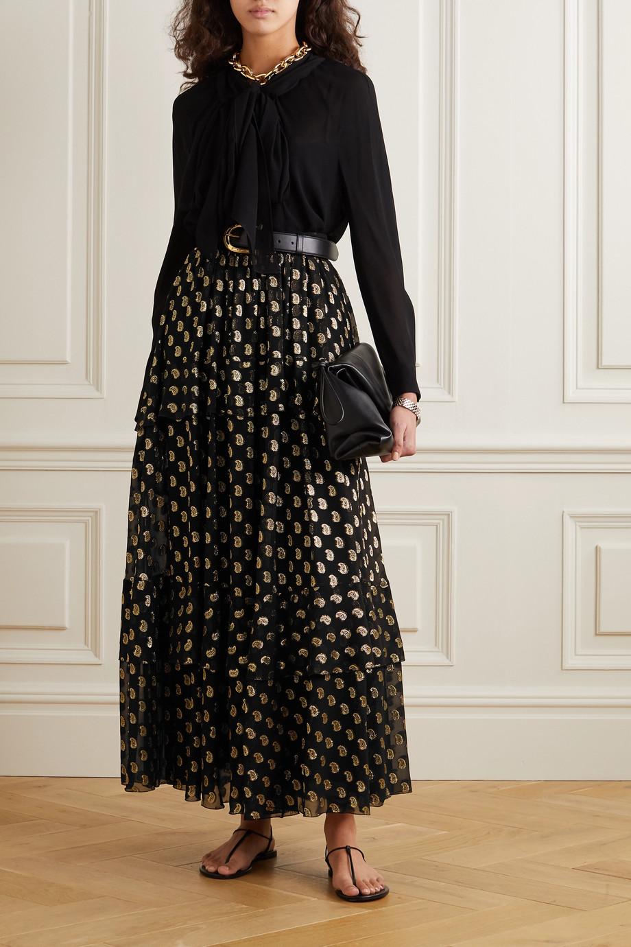 Etro Tiered metallic fil coupé silk-blend georgette maxi skirt
