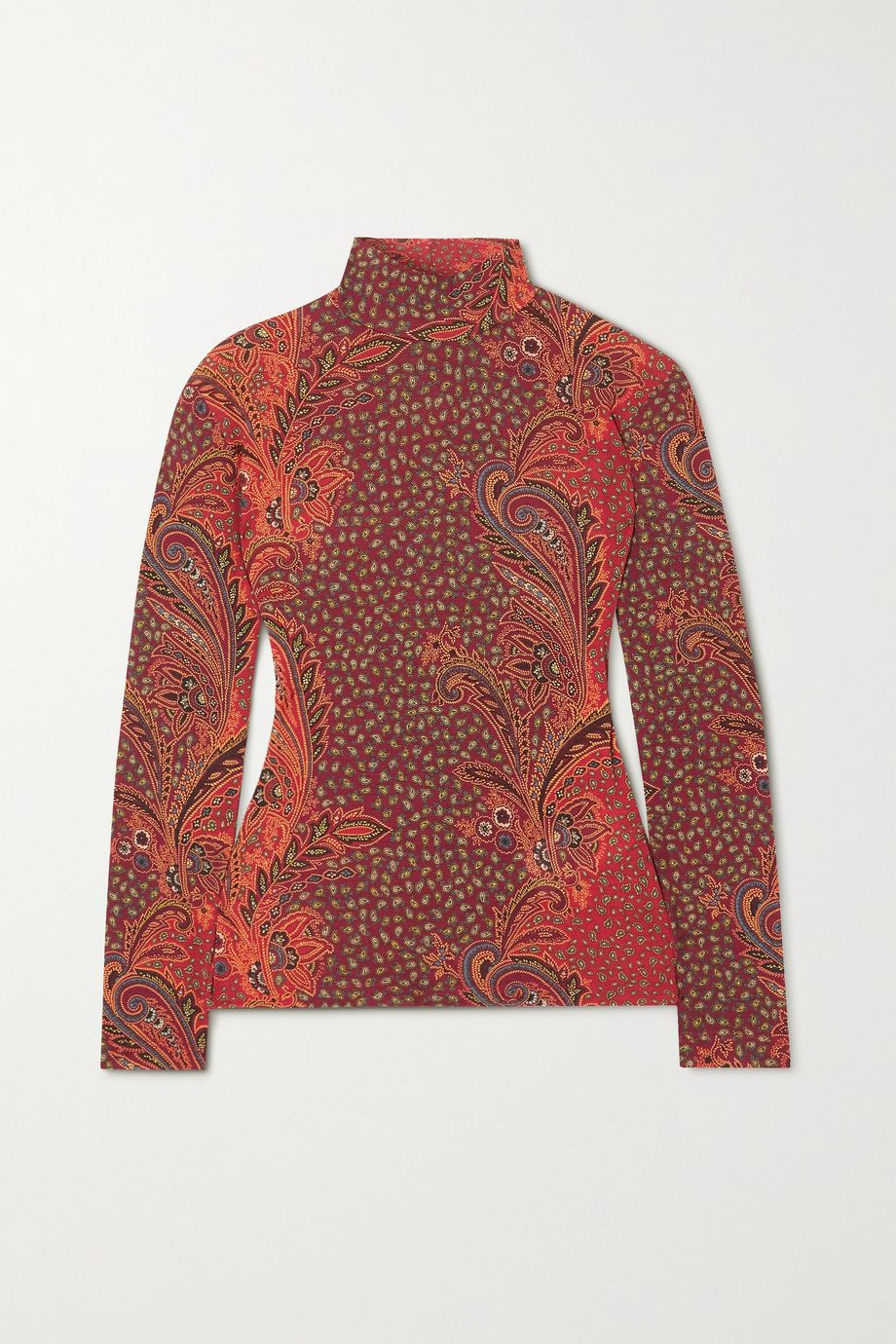 Etro Paisley-print stretch wool-blend turtleneck top