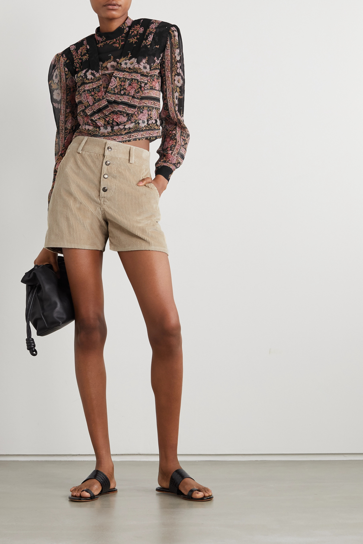 Etro Draped floral-print silk-crepon blouse