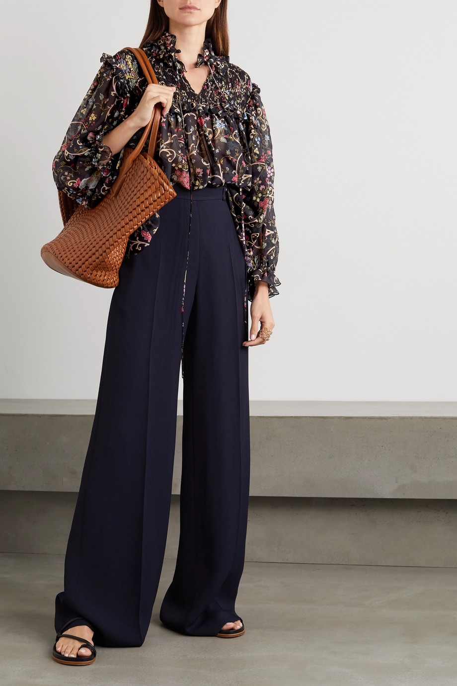 Etro Ruffled shirred floral-print silk and wool-blend chiffon blouse