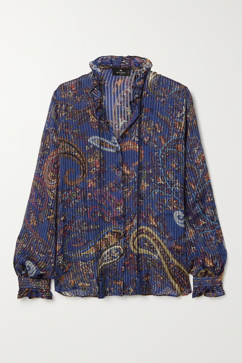 Etro Ruffled pleated metallic paisley-print silk-chiffon blouse