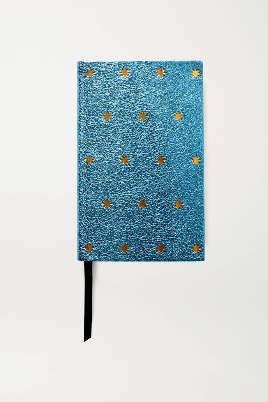Smythson Printed metallic textured-leather notebook