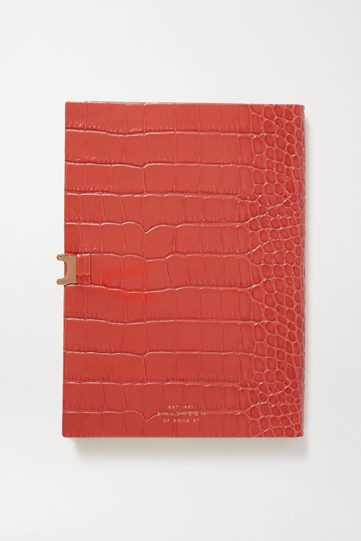 Smythson Soho Notizbuch aus Leder mit Krokodileffekt