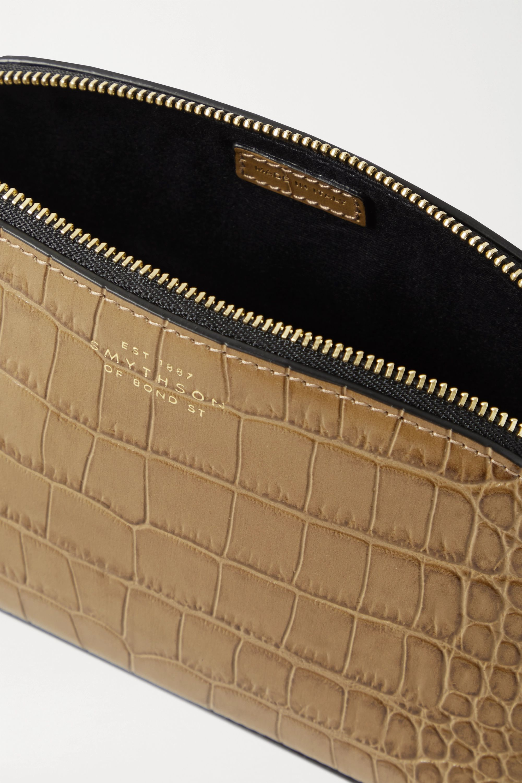Smythson Croc-effect leather cosmetics case