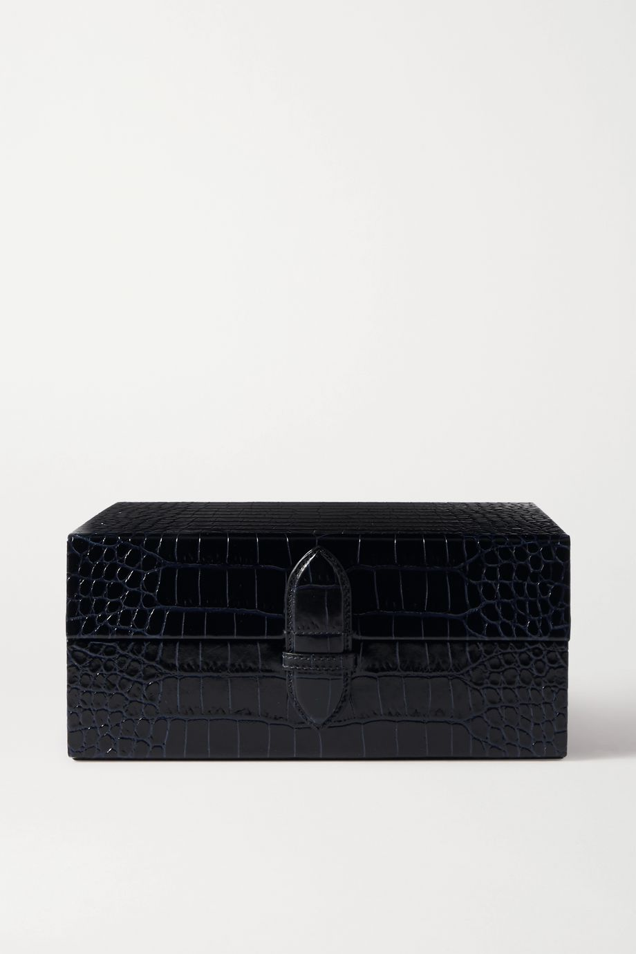 Smythson Mara croc-effect leather jewelry box