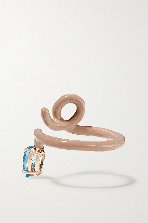 Bea Bongiasca Baby Vine Tendril rose gold, enamel and topaz ring