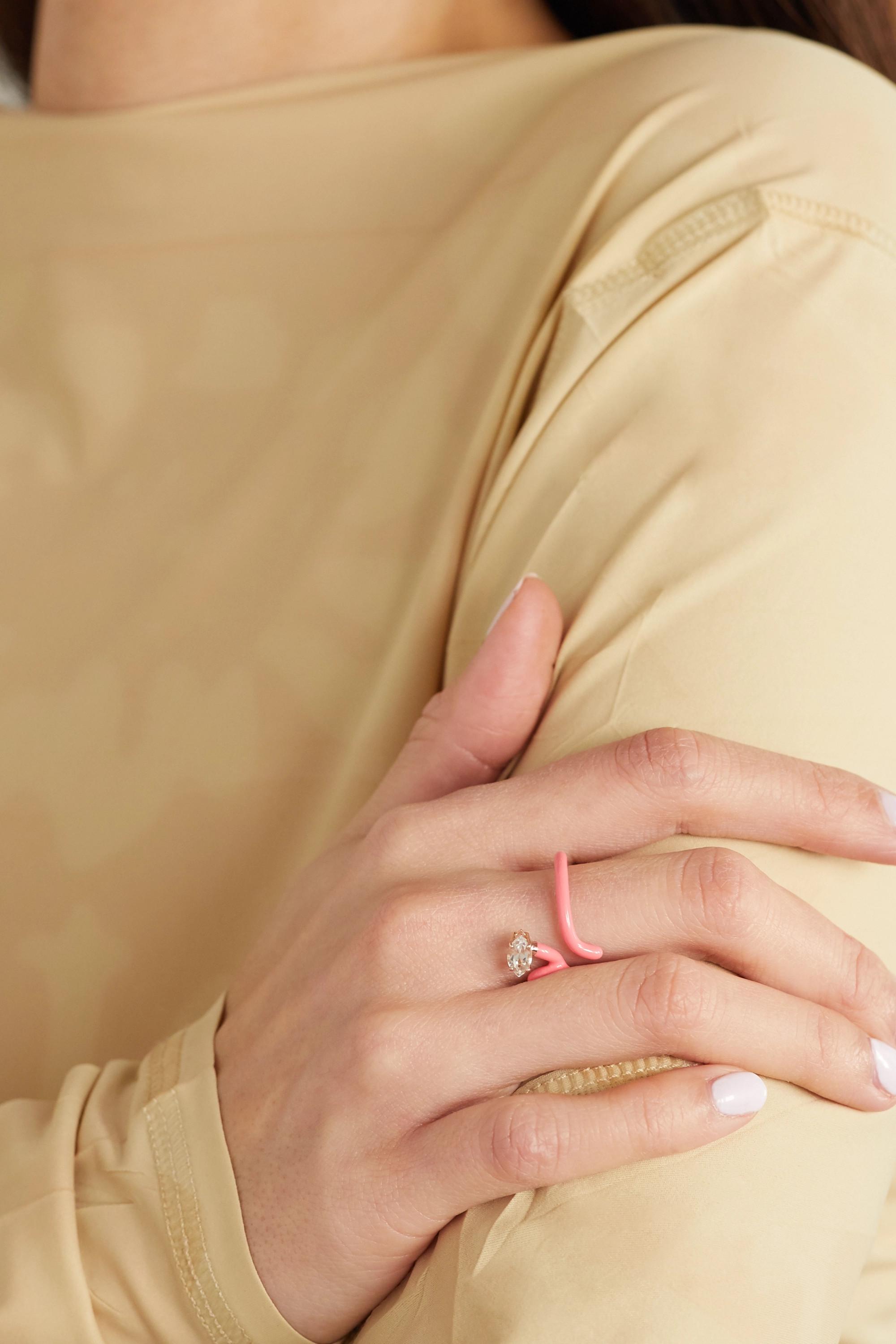 Bea Bongiasca Baby Vine Tendril rose gold, enamel and rock crystal ring