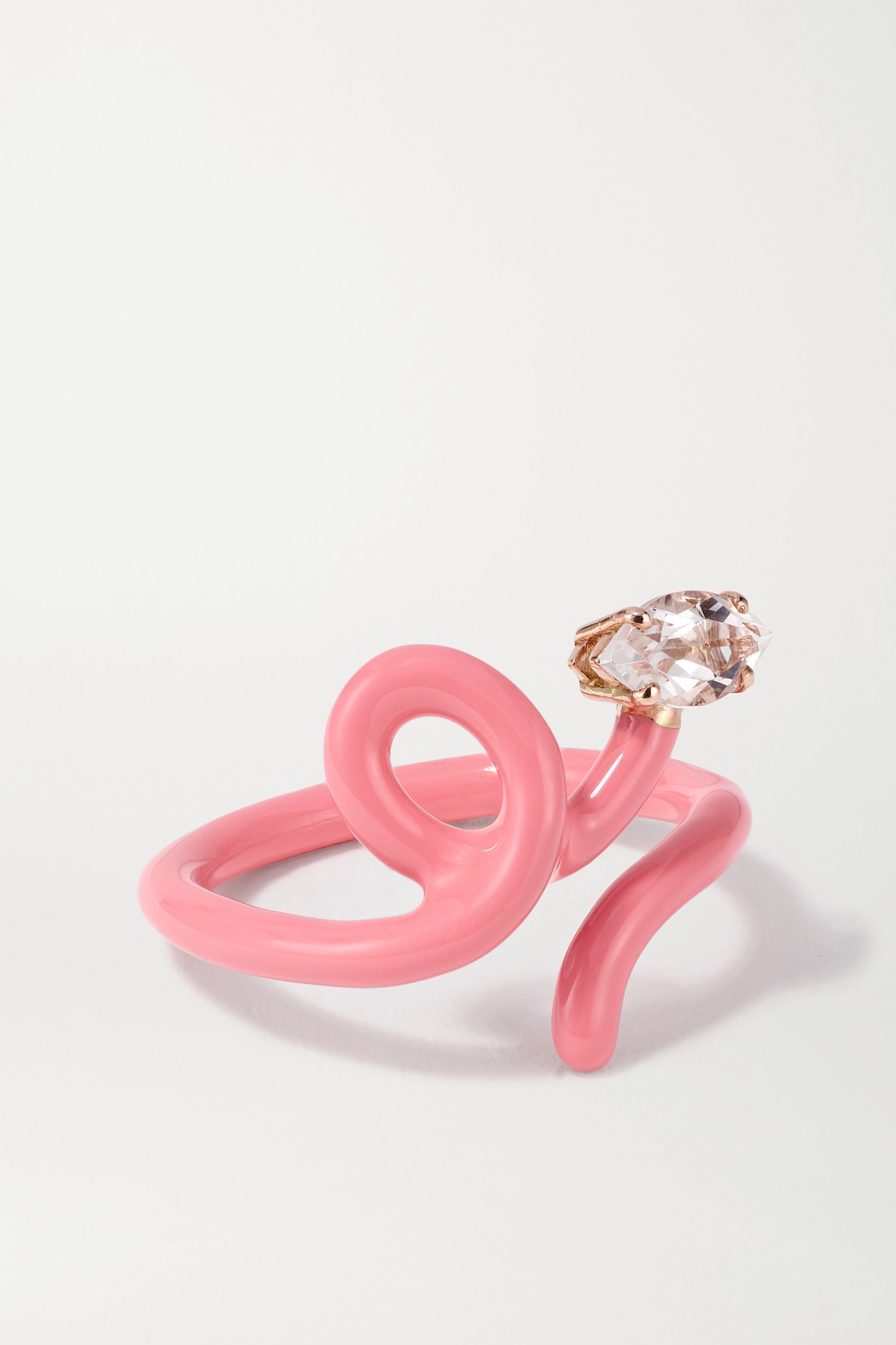 Bea Bongiasca Baby Vine Tendril rose gold, enamel and rock crystal ring