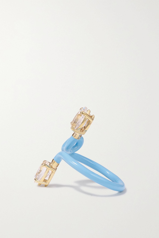 Bea Bongiasca Vine Tendril 9-karat gold, enamel and rock crystal ring