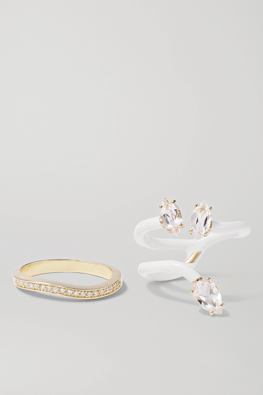 Bea Bongiasca Vine 9-karat gold, enamel, rock crystal and diamond ring
