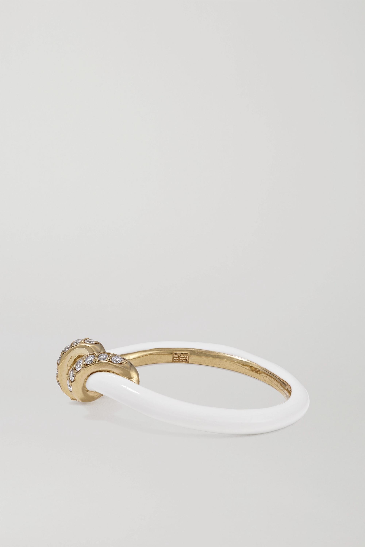 Bea Bongiasca Baby Vine Ring aus 9 Karat Gold mit Emaille und Diamanten