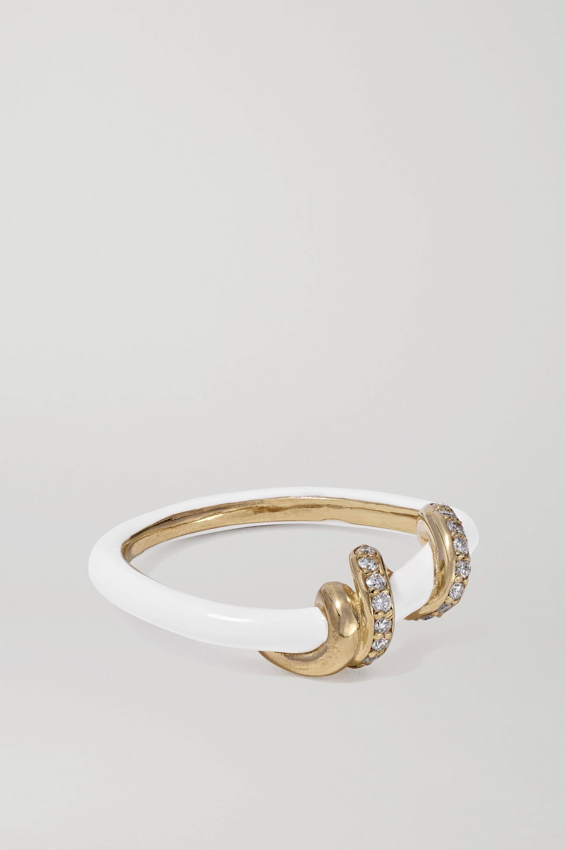 Bea Bongiasca Baby Vine 9-karat gold, enamel and diamond ring