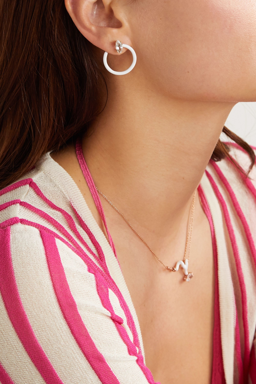 Bea Bongiasca Small Tendril Circle 9-karat gold, enamel and rock crystal earrings