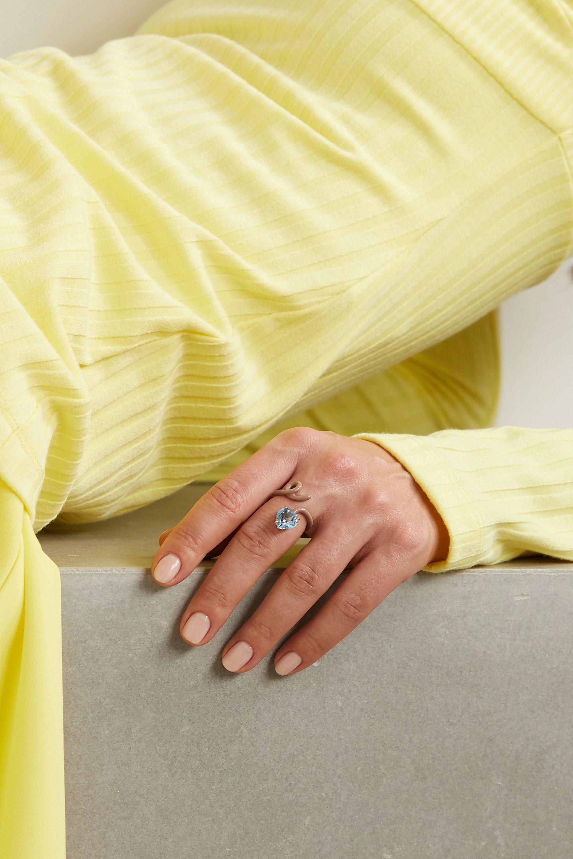 Bea Bongiasca Heart Tendril 9-karat rose gold, enamel and topaz ring