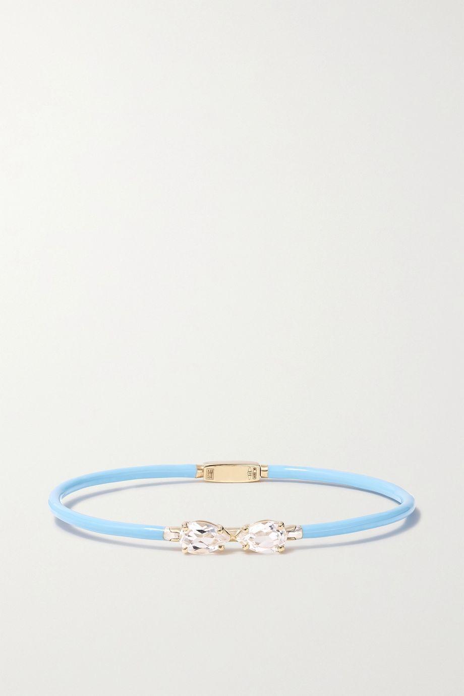 Bea Bongiasca Vine 9-karat gold, enamel and rock crystal bracelet