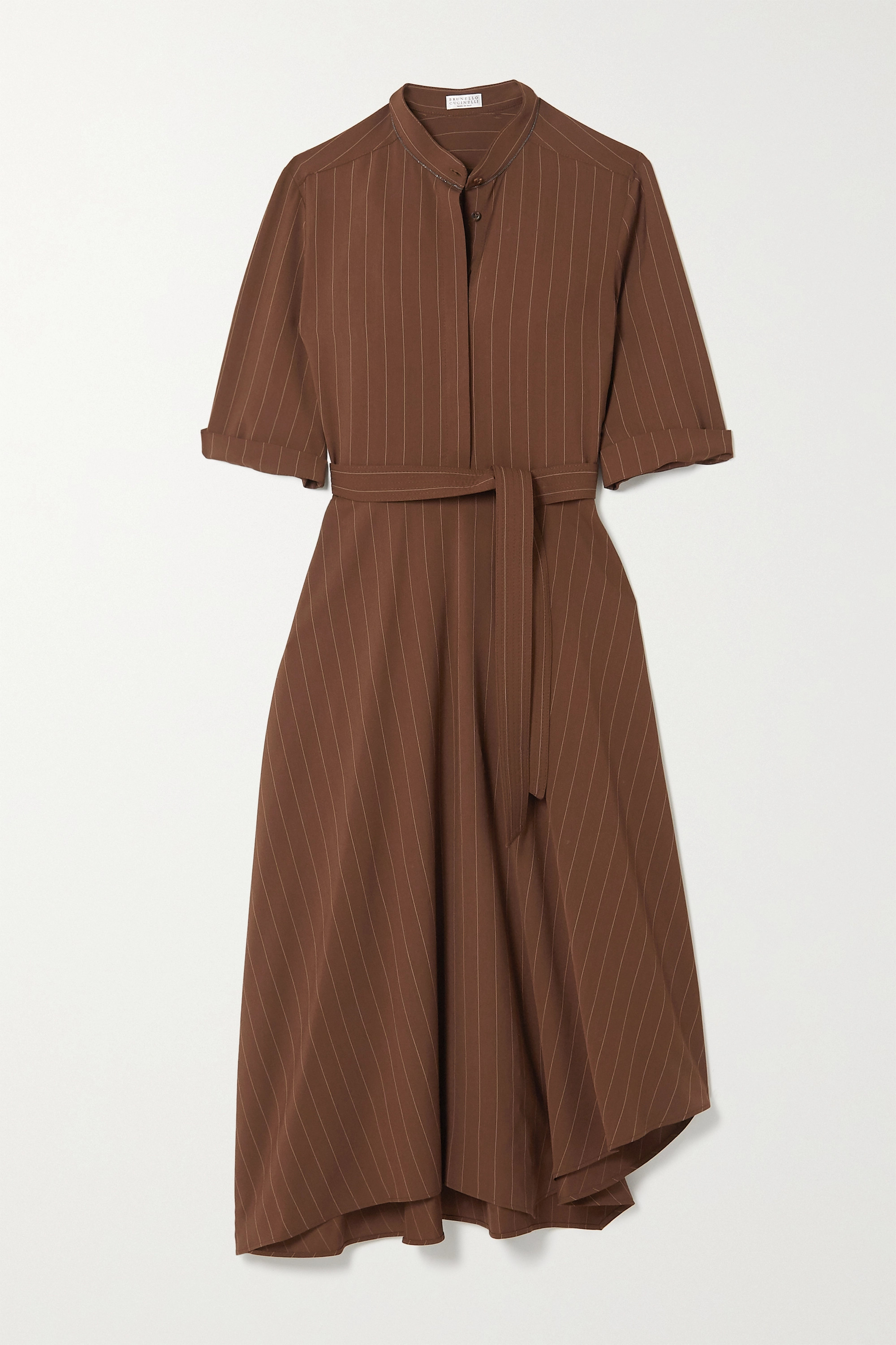 Brunello Cucinelli Belted bead-embellished pinstriped woven midi shirt dress