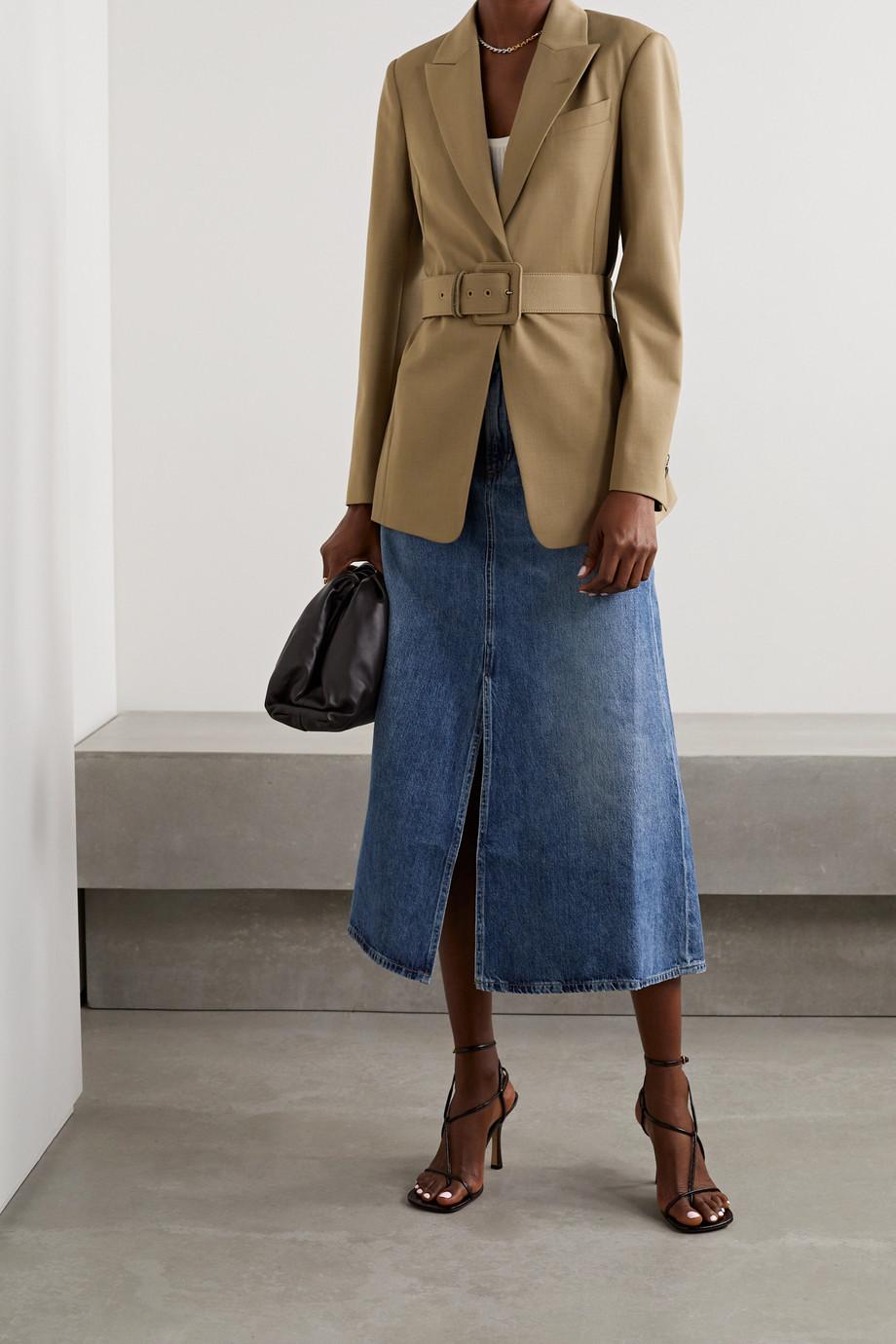 Brunello Cucinelli Blazer en laine mélangée à ceinture