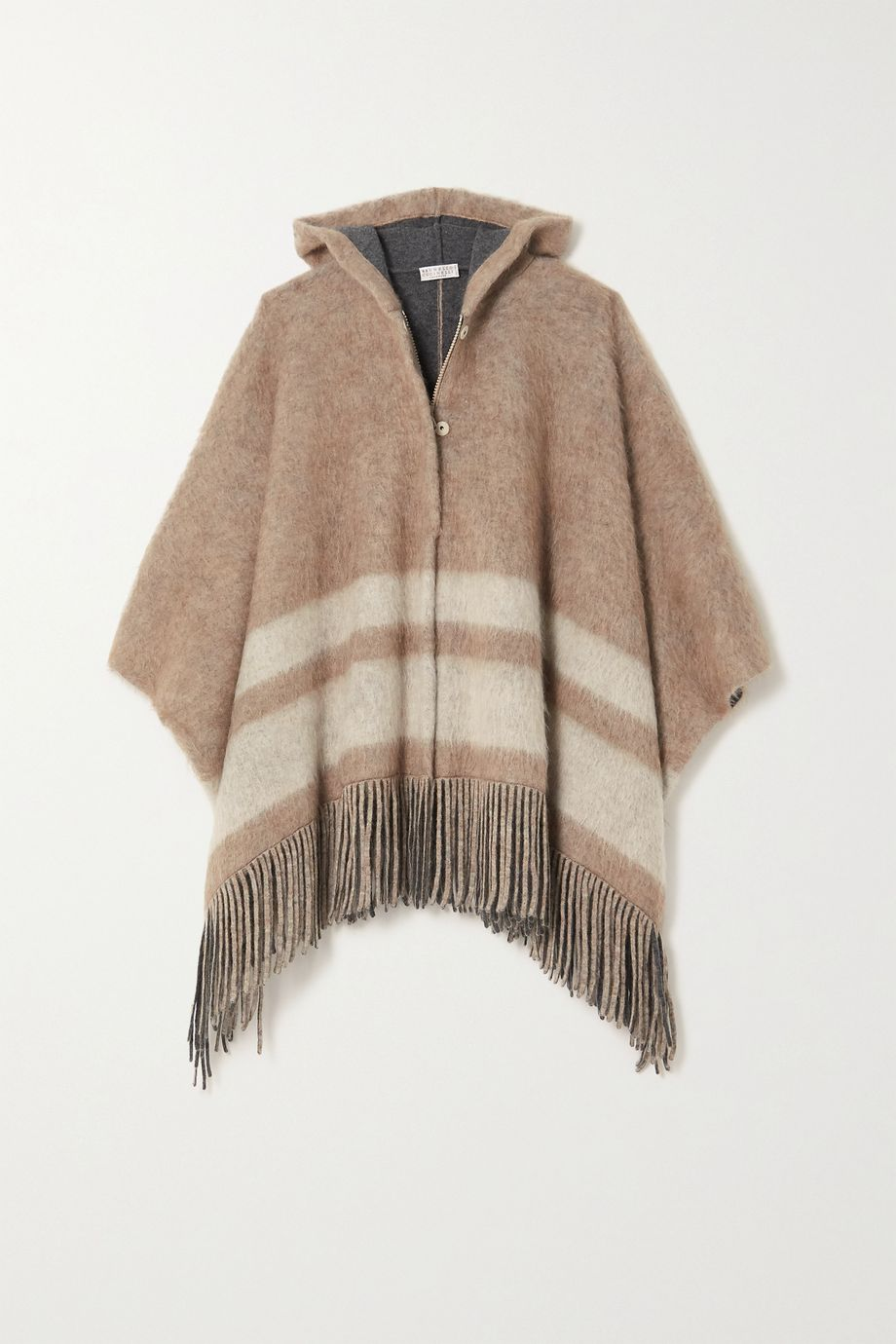 Brunello Cucinelli Hooded fringed striped knitted poncho