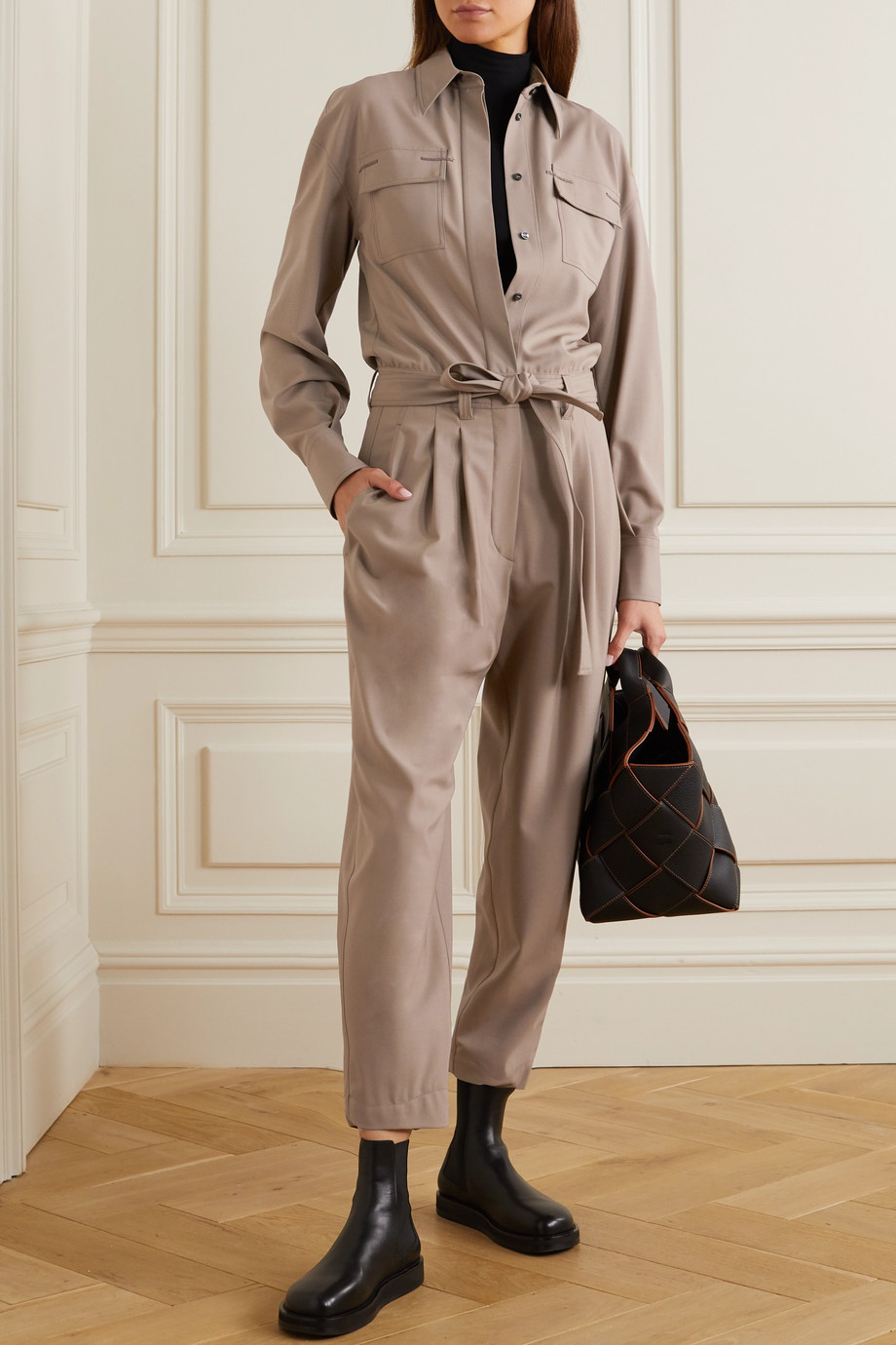 Brunello Cucinelli Bead-embellished stretch-wool jumpsuit