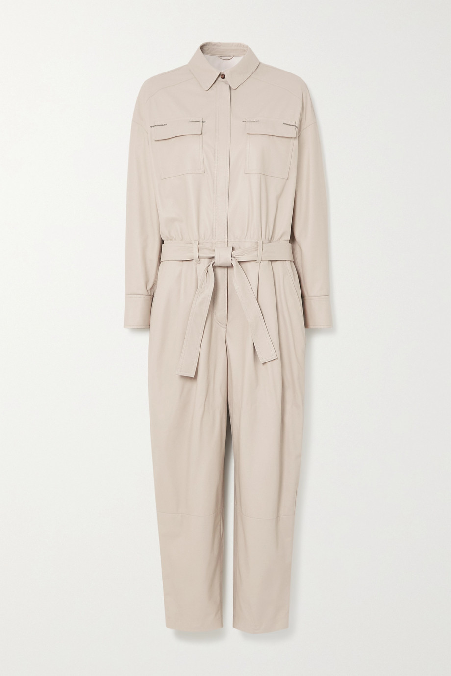 Brunello Cucinelli Bead-embellished belted leather jumpsuit