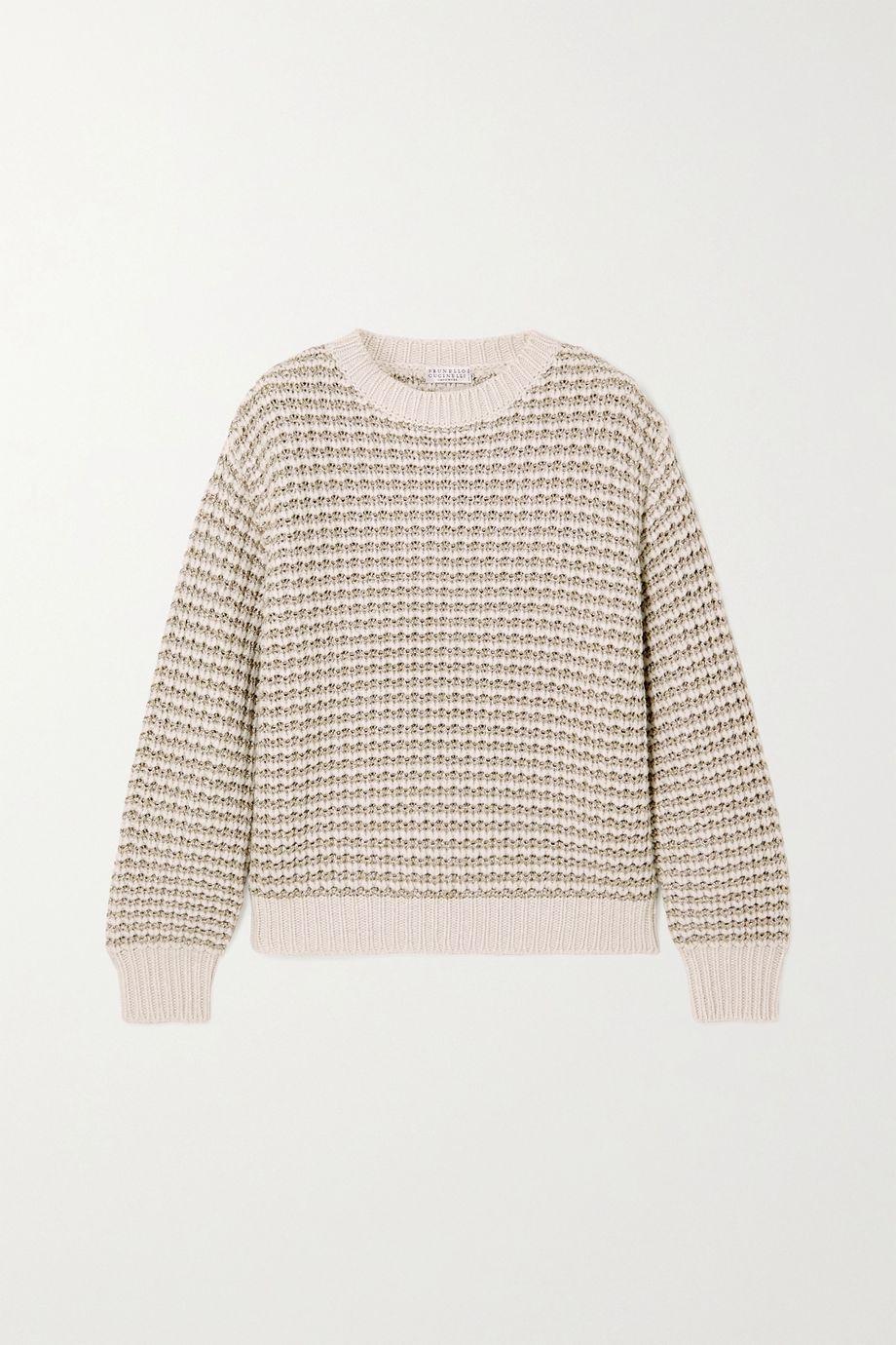 Brunello Cucinelli Metallic striped ribbed-knit sweater