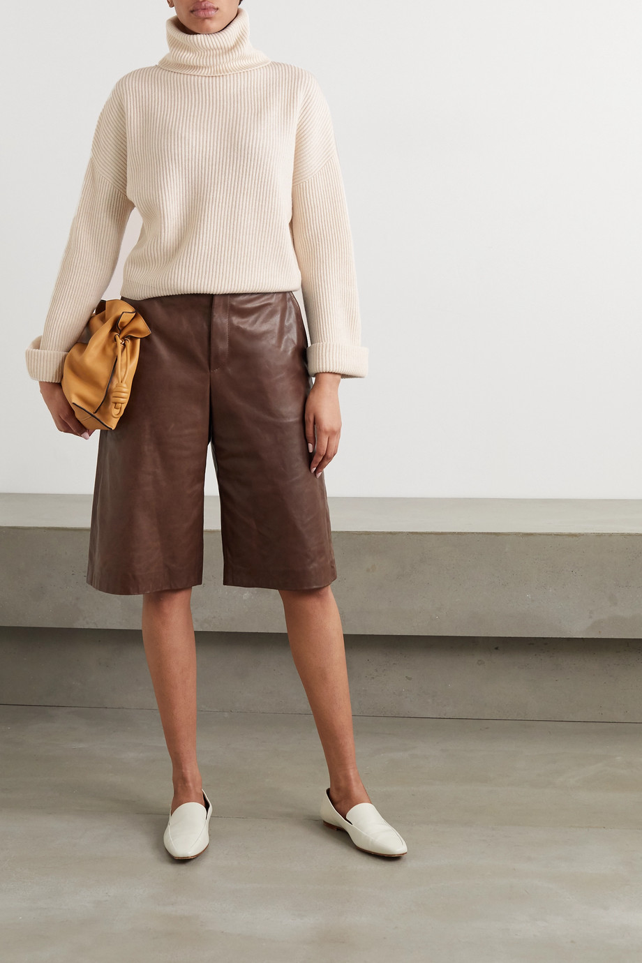 Brunello Cucinelli Bead-embellished ribbed cashmere turtleneck sweater