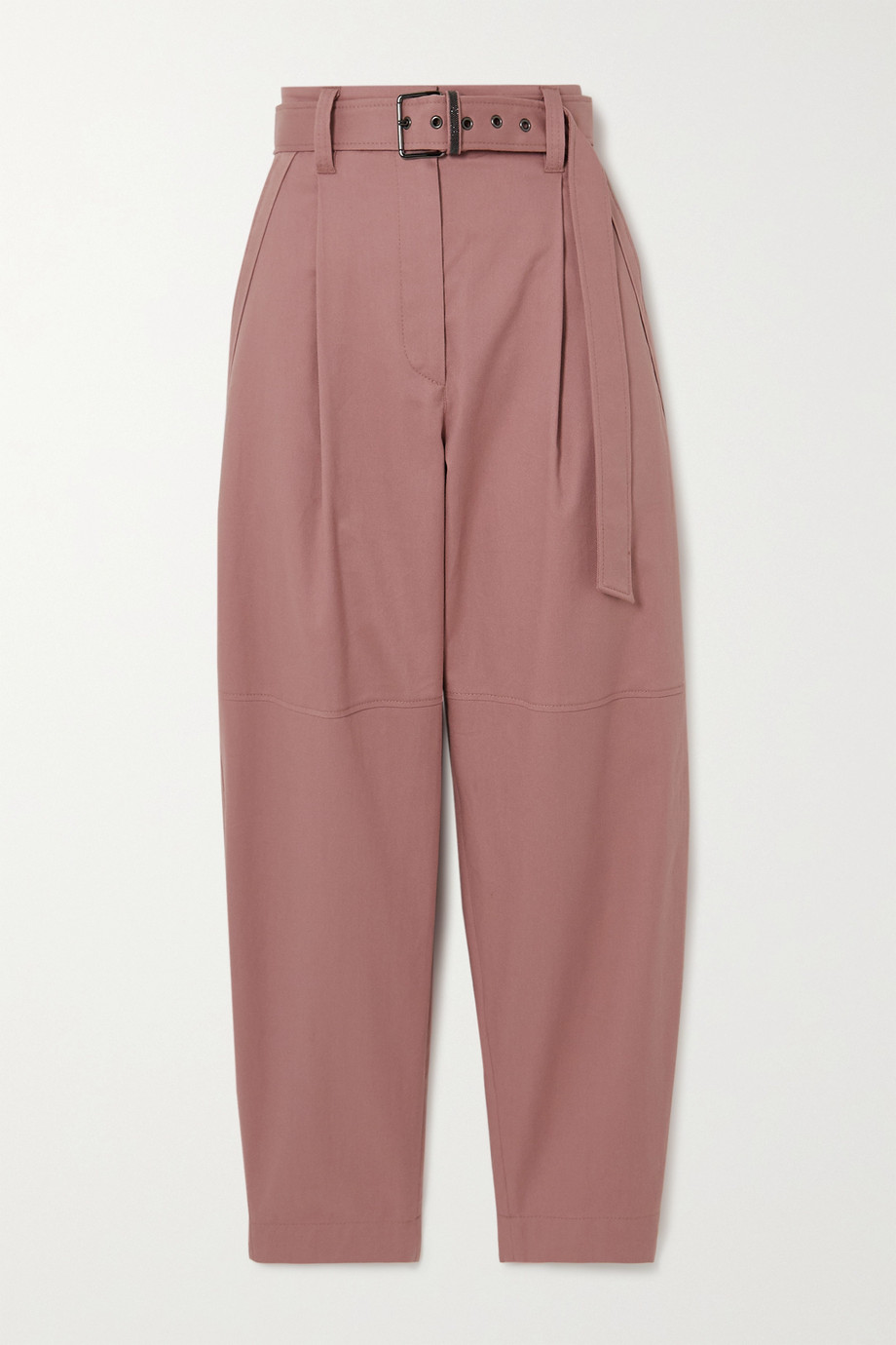 Brunello Cucinelli Belted pleated cotton-drill straight-leg pants